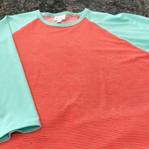 Lula roe Randy turquoise with orange Stripes